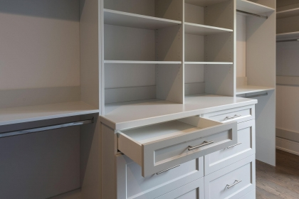 Closet Cabinets, White Shaker Plus, Open Drawer CloseUp