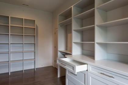 Closet Cabinets, White Shaker Plus, Open Drawer