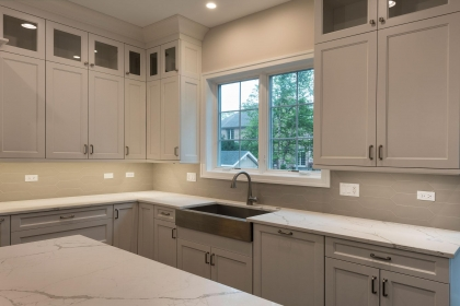 Kitchen Cabinets, White Shaker Plus, Apron Sink