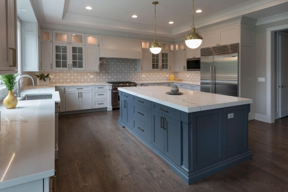 Kitchen Cabinets, White Shaker Plus, Island View