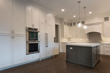 Kitchen Cabinets, White Shaker Plus, Paint Grade Island, Overall View