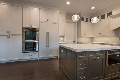 Kitchen Cabinets, White Shaker Plus, Paint Grade Island
