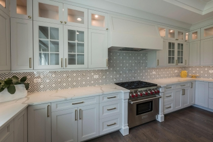 Kitchen Cabinets, White Shaker Plus, Stove View