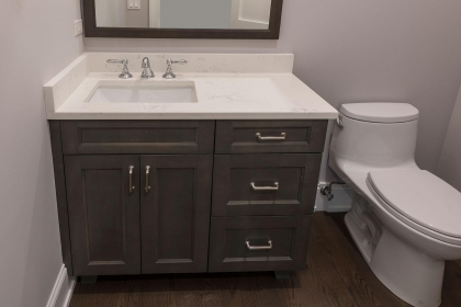 Bathroom Vanity, Paint Grade, Chocolate Gray, Shaker