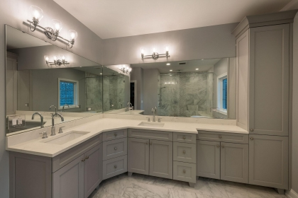 Master Bathroom Vanity, Gray, Shaker